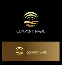 round wave signal gold logo vector image