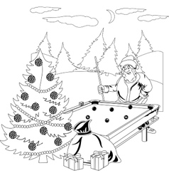 Santa Claus playing billiards vector image