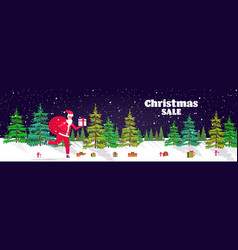santa claus running with big sack full gifts vector image