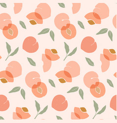 seamless pattern with peaches trendy hand drawn vector image