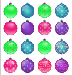 set colorful christmas balls vector image