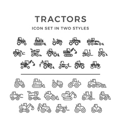 Set icons of tractors vector