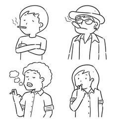 set men smoking cigarettes vector image
