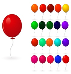 set of colorful balloons on a white background vector image