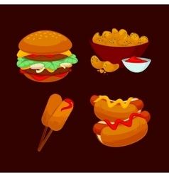 Set of fast food meals Collection cartoon snack vector