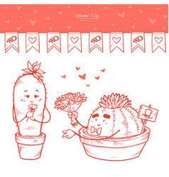 set valentines day hand drawn garland cacti vector image