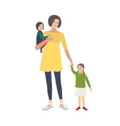 smiling pregnant woman walking with her daughters vector image