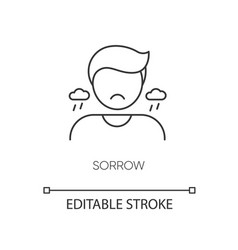 Sorrow pixel perfect linear icon vector
