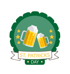 st patrick s day ribbon beer mug circle frame back vector image