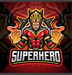 Superhero esport mascot logo design vector