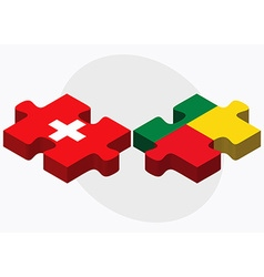 Switzerland and Benin Flags vector