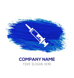 syringe icon - blue watercolor background vector image