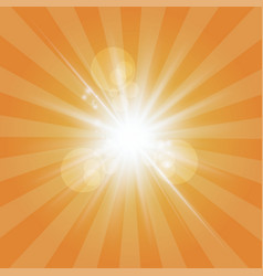 the sun radiation retro orange background vintage vector image