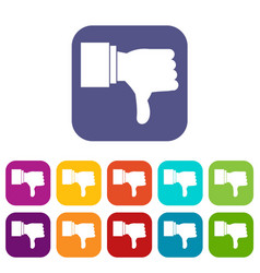 Thumb down gesture icons set vector