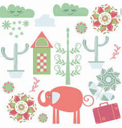 travel fantasy odd seamless pattern with elephant vector image