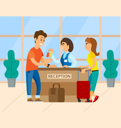 travels near reception check into hotel vector image
