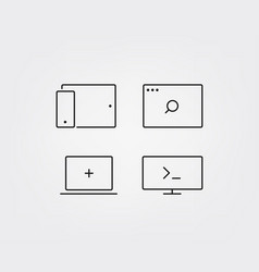 trendy modern media icons set isolated on white vector image