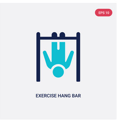 two color exercise hang bar icon from gym and vector image