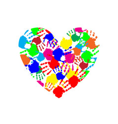 vibrant heart icon made of multicolored hand vector image