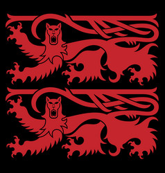 viking scandinavian design two scandinavian lions vector image