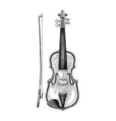 violin hand skecth vintage style vector image