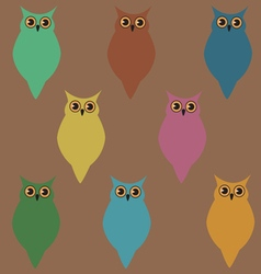 wallpaper with colorful owls vector image