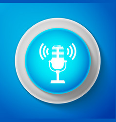 white microphone icon isolated on blue background vector image