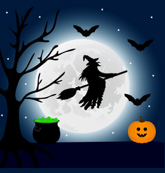 witch flies at night on halloween and a potion vector image