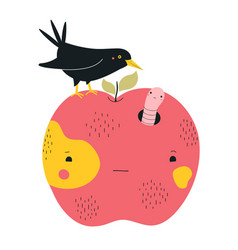 With big red apple crow bird and worm vector