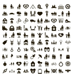 100 family icons set simple style vector image vector image