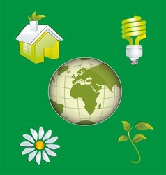 Ecology Icon Concept with Earth vector image vector image