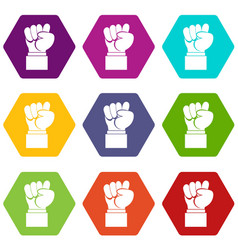 raised up clenched male fist icon set color vector image
