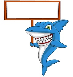 Angry Shark with banner vector image vector image