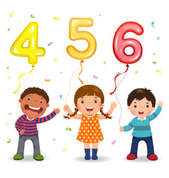 cartoon kids holding number 456 shaped balloons vector image