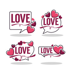 collection of hearts and love logo emblems vector image