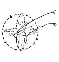 Hand signal extend the arm horizontally vintage vector