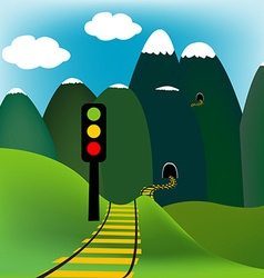 Mountain landscape with railway vector image