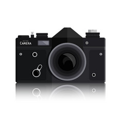 retro photo black camera isolated on white vector image vector image