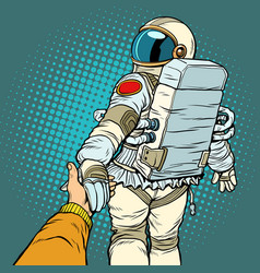astronaut space travel follow me concept couple vector image vector image