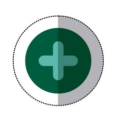 color circle sticker with plus icon vector image