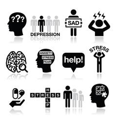 Depression stress icons set - mental health vector image