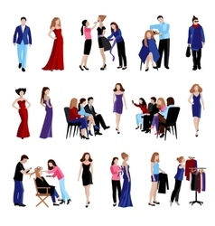 Fashion model catwalk icons vector image vector image