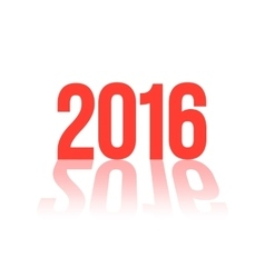 red 2016 number with long shadow vector image vector image