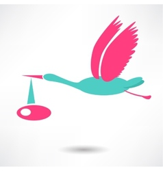 Stork icon with baby on white background vector image