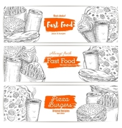 Fast food sketch banners burgers pizza sandwich vector image vector image
