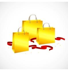 gold shopping bag ribbon red and stars vector image