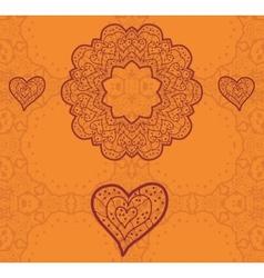 Valentine card design Ornamental orange flyer Love vector image vector image
