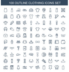 100 clothing icons vector