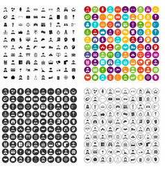 100 wage earner icons set variant vector