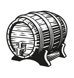 a black and white beer barrel vector image